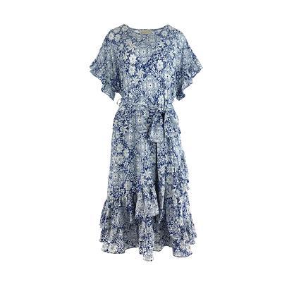 floral pattern ruffle dress